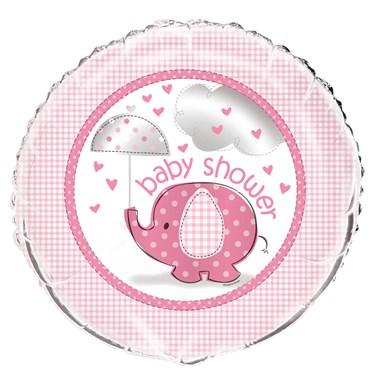 Umbrellaphants Pink Baby Shower Foil Balloon