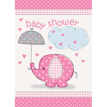 Umbrellaphants Pink Baby Shower Invitations (8)