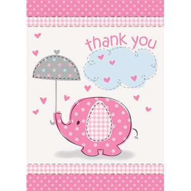 Umbrellaphants Pink Baby Shower Thank You Notes (8)