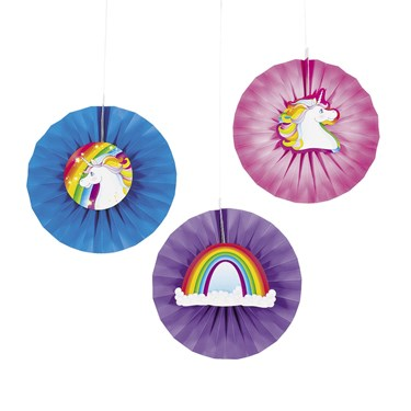 Unicorn Hanging Paper Fans With Icons(12)