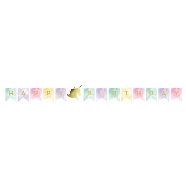 Unicorn Sparkle 8' Shaped Birthday Banner (1)