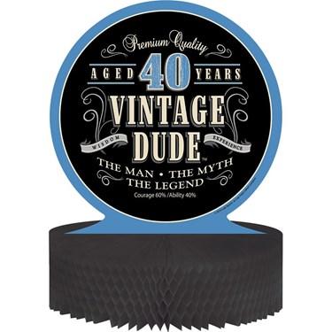 Vintage Dude 40th Honeycomb Centerpiece