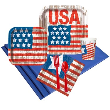 Vintage Patriotic Flag 24 Guest Party Pack