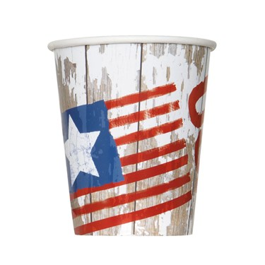 Vintage Patriotic Flag 9oz Paper Cups (8)
