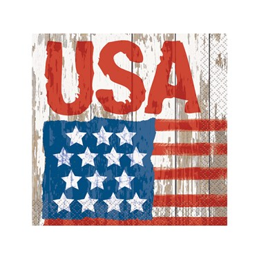 Vintage Patriotic Flag Beverage Napkins (24)