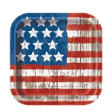 Vintage Patriotic Flag Dessert Plates (10)