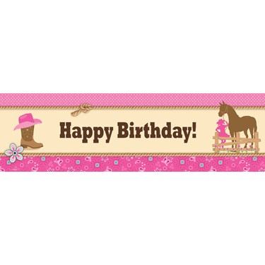 Western Cowgirl Party Birthday Banner