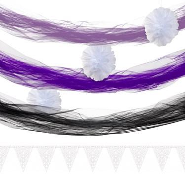 White & Purple Tulle Decor Kit