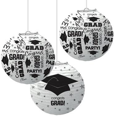 White Graduation Paper Lanterns (3 Count)