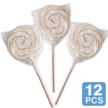 """White Swirl 3"""" Lollipops (12)"""