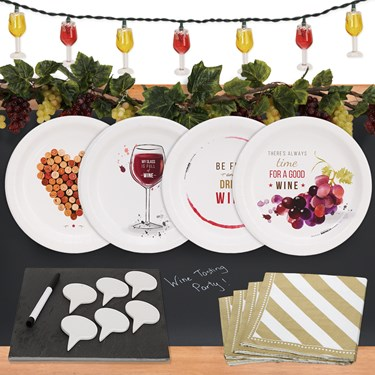 Wine Party 32 pc Appetizer Pack w/ Chalkboard Runner, Cheese Board & Decor