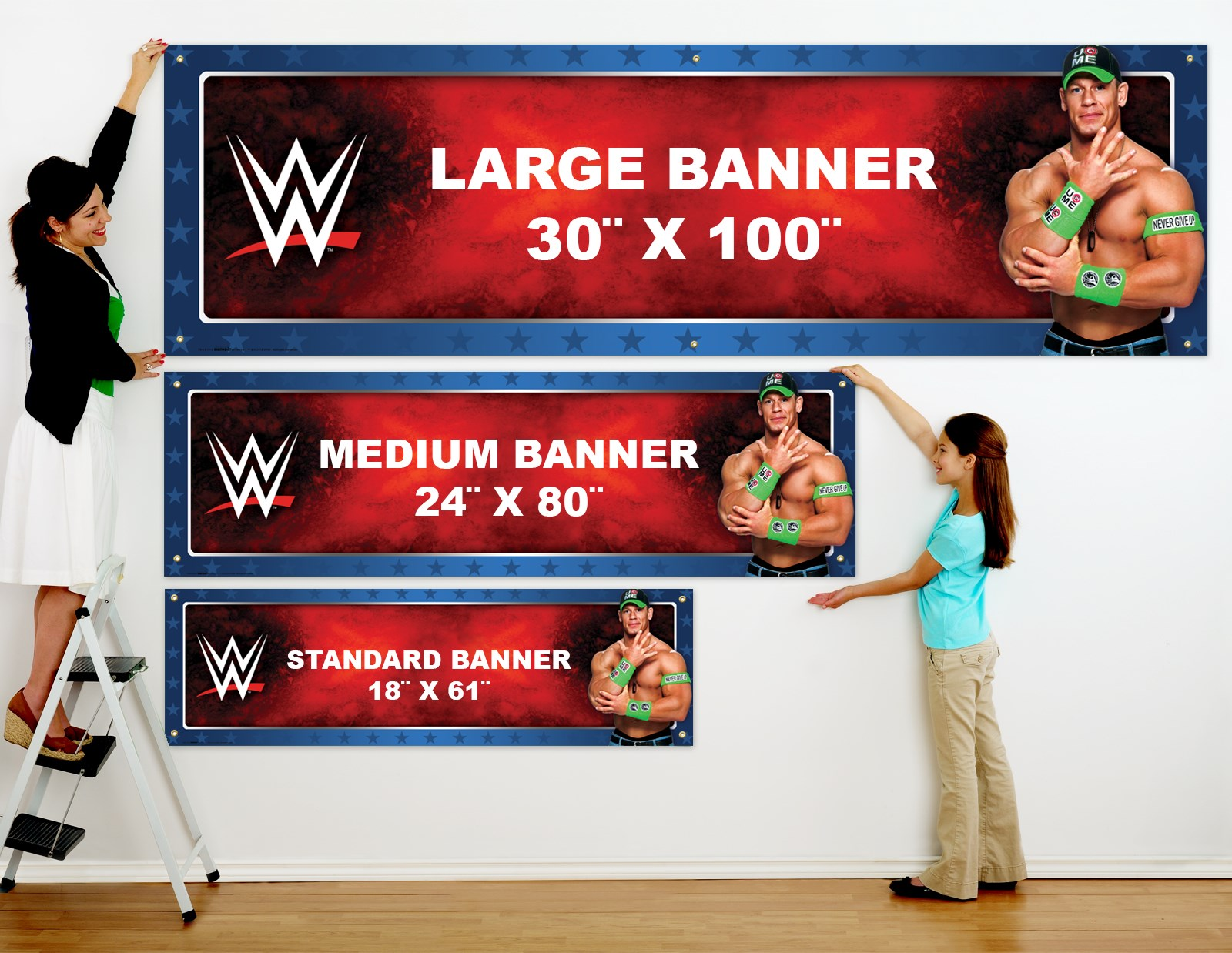 WWE Party John Cena Rey Mysterio Personalized Vinyl Banner – Wwe Party Invitations