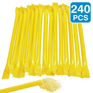 """Yellow Candy Filled 6"""" Straws (240 Pack)"""