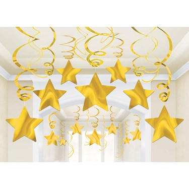 Yellow Foil Star Hanging Decorations (30 Count)