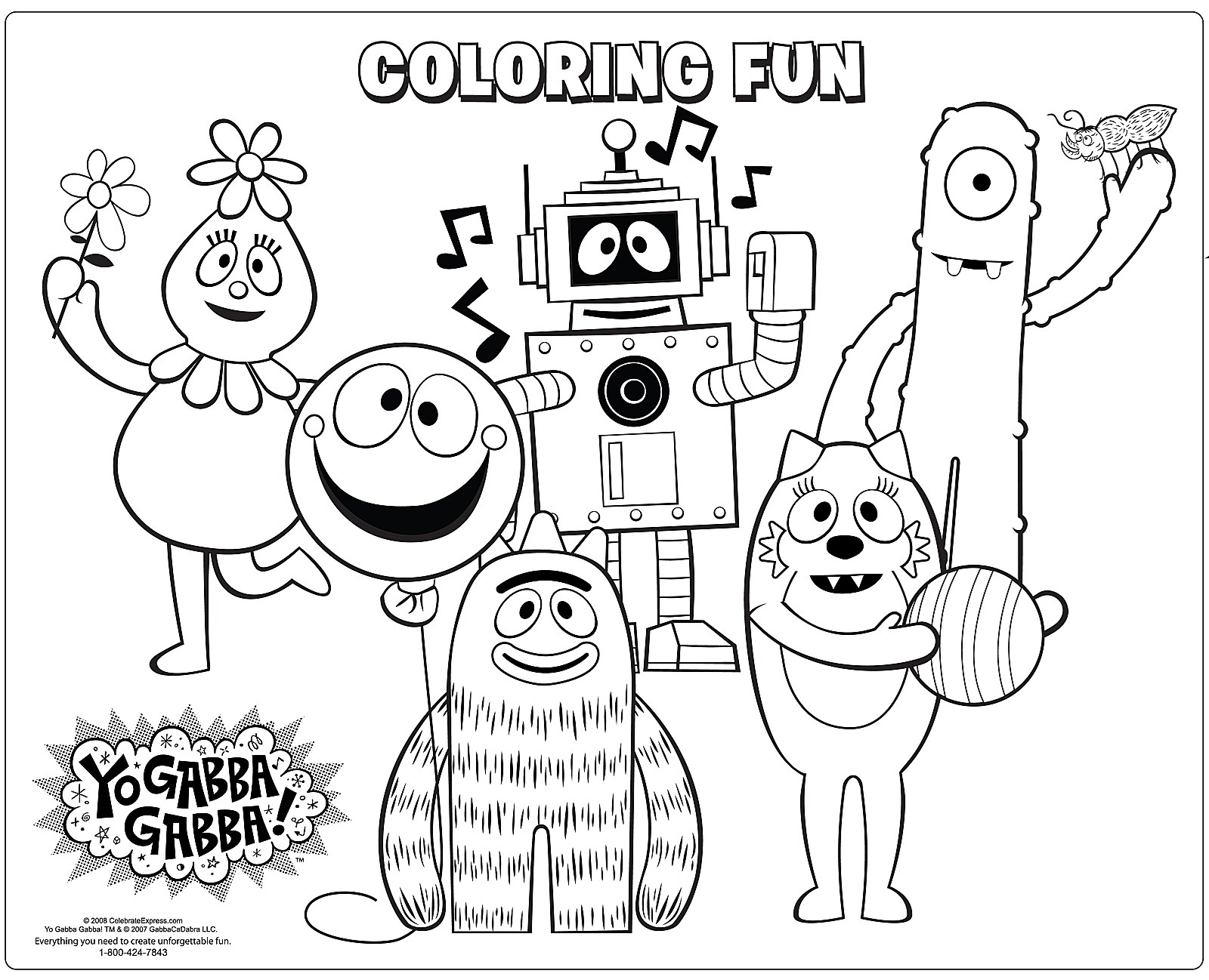 Coloring pages yo gabba gabba - Activity Placemats Alt Image 1 Yo Gabba Gabba Activity Placemats