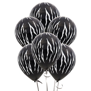 Zebra Stripes Black Latex Balloons